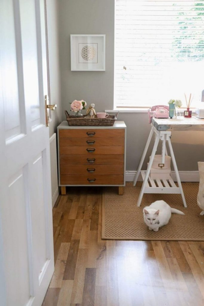 Home office makeover wooden trestle table