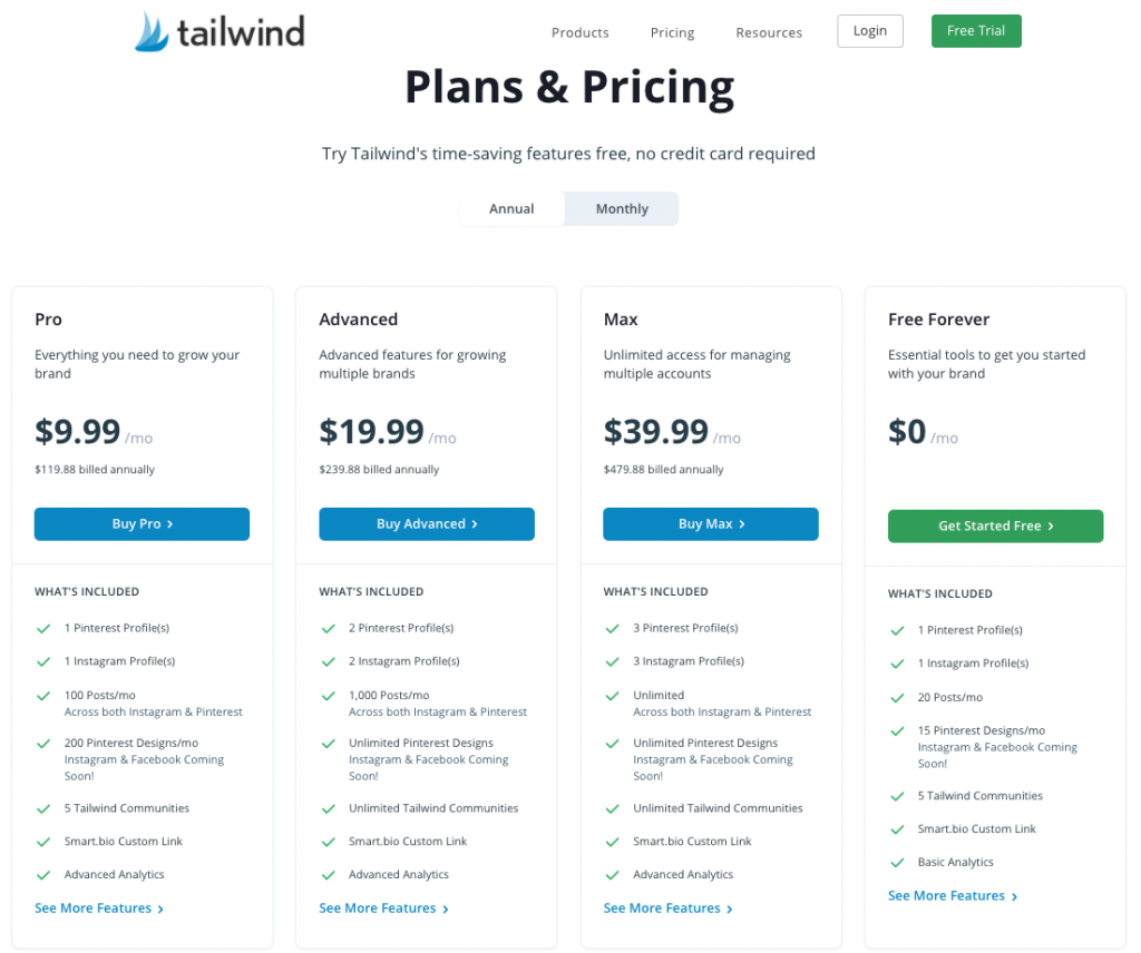 Tailwind new pricing plans