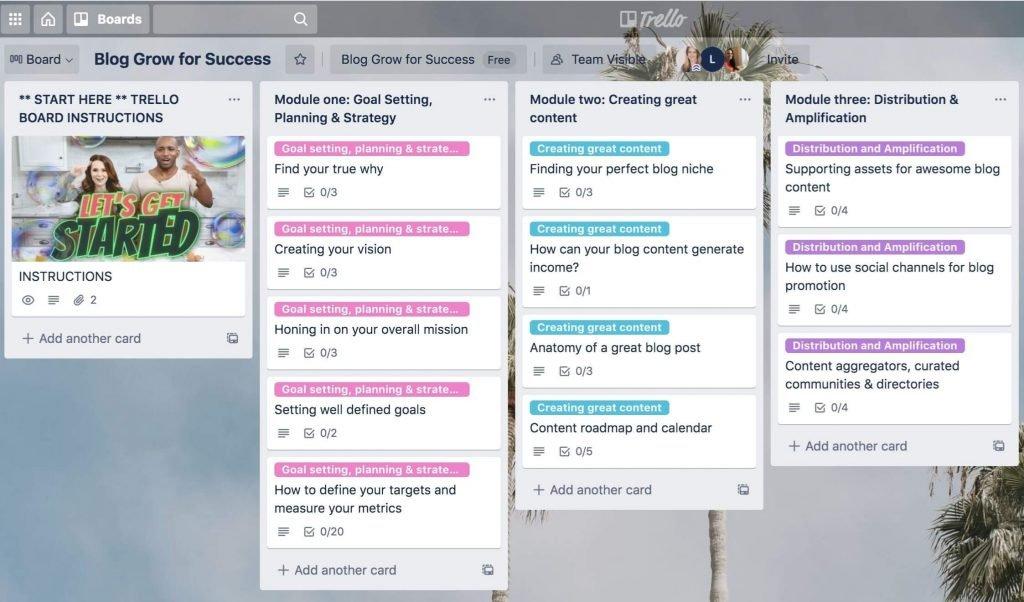 Trello board Blog Grow for Success