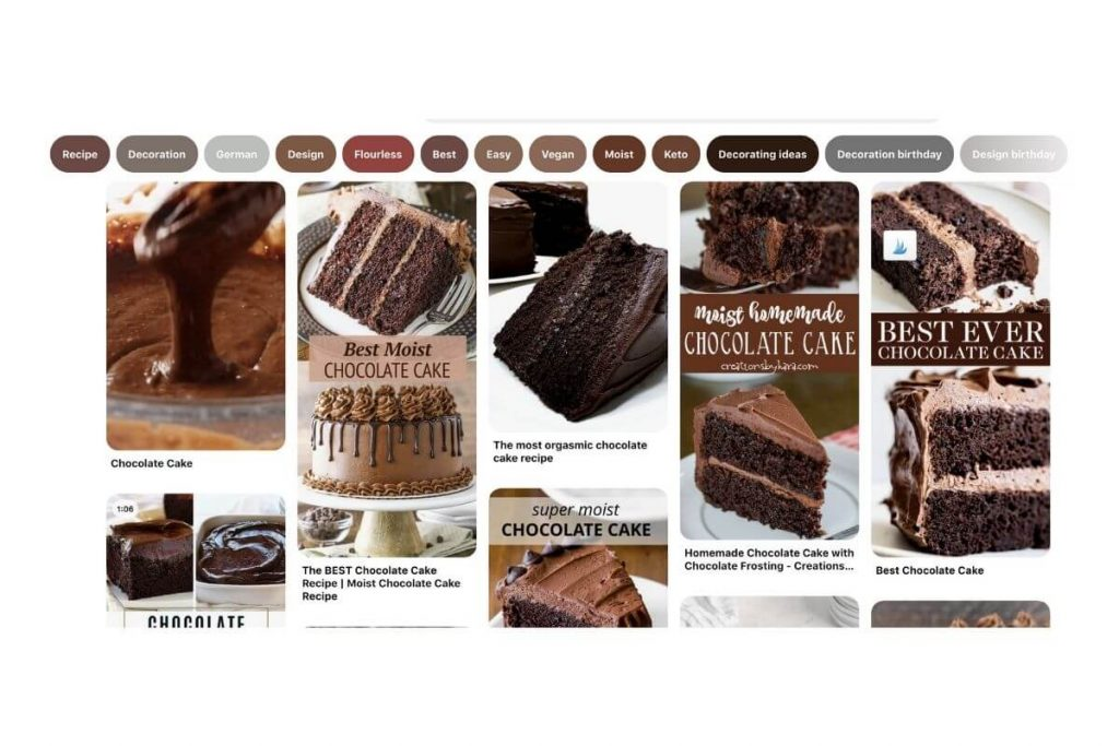 chocolate cake search on Pinterest