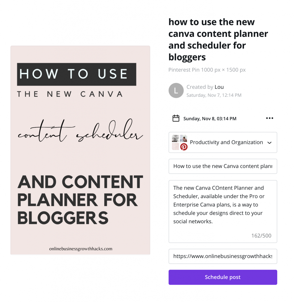 Pin details on Canva
