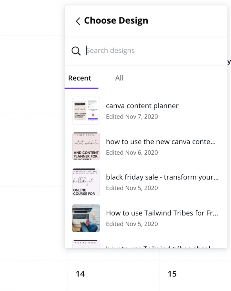 Choose a design in the Canva content planner