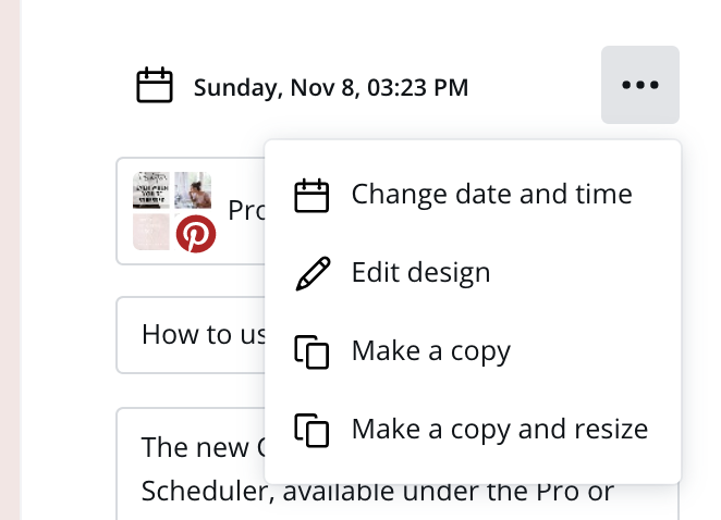 Change date and time on Canva scheduler