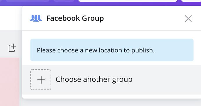 Choose Facebook Groups in Canva calendar