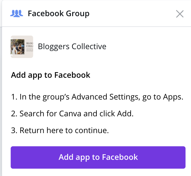 Add Canva scheduler to Facebook apps